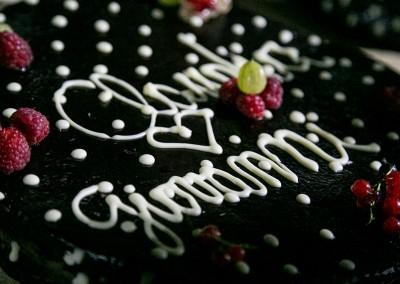 chocolate wedding cake with berries