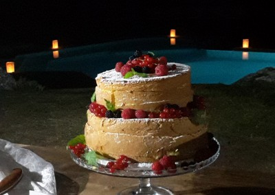 wedding naked cake with songe, cream and berries