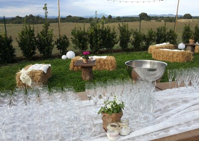 wedding aperitif country chic decor