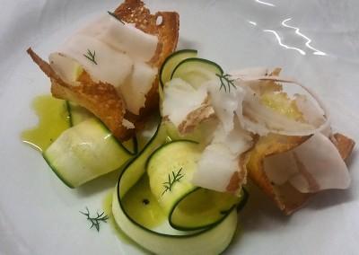 catering cerinella in toscana - carpaccio di lardo e zucchine